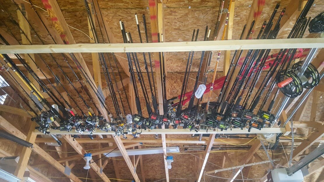 Rods and Reels in the rafters